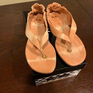Delman Pink/White Tye Die Sandals